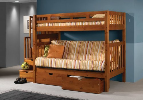 Solid Wood Traditional Mission Style Loft Bed With Full Size Couch U0026 Drawers  Underneath