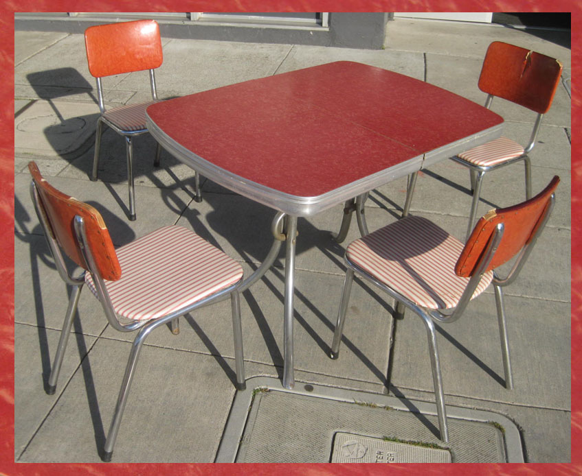Uhuru Furniture Collectibles Sold Red 1950s Kitchen Table Chairs 115