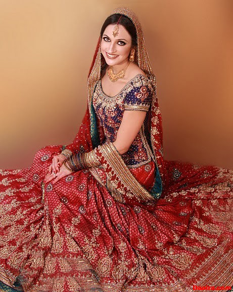 a56a06cf59 PAKISTANI BRIDAL DRESSES (RED SHARARA WITH BLUE SHIRT) - FASHION and ...