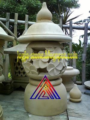 LAMPION BATU ALAM MOTIF BUNGA