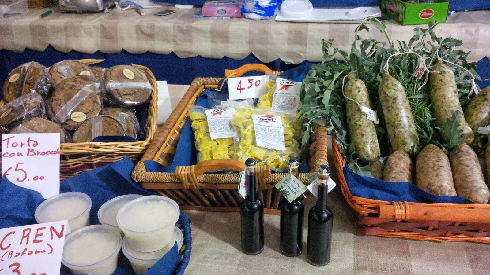 Foodstuffs made with broccolo fiolaro at the food festival in Creazzo