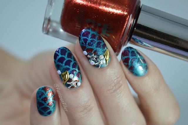 mermaid fish scales charms shells starfish holographic pearls