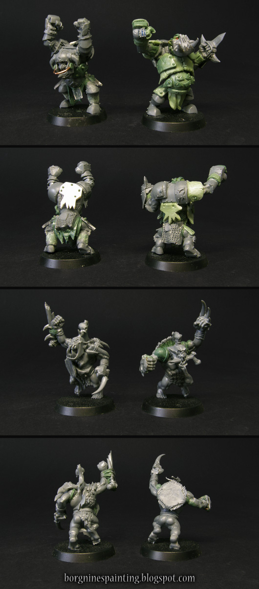 Top part: 2 Black Orcs/Ardboyz miniatures from AoS converted with greenstuff and bits to be used as Black Orc Blockers in Blood Bowl. Bottom Part: 2 Savage Orcs converted to fit Blood Bowl and be used as Orc Blitzers. Both sets visible from several angles.