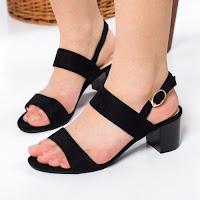 Sandale Samsel negre cu toc gros