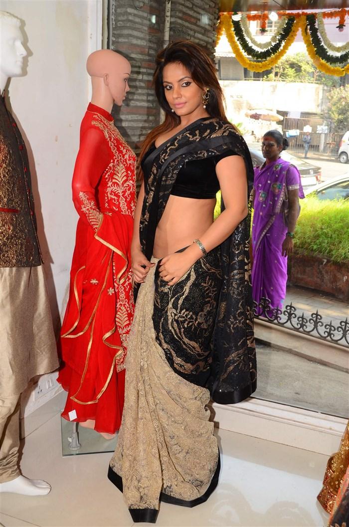 Neetu Chandra in Black Saree at Designer Sandhya Singh Store Launch Mumbai