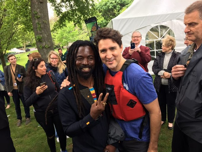 Rocky Dawuni meets Canadian prime minister Justin Trudeau at World Environment Day