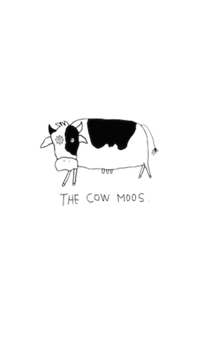 The cow moos