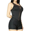 Women's Sexy Fitted Mesh Overlay Tank Jumpsuite Deep Sweet Heart Under Layer
