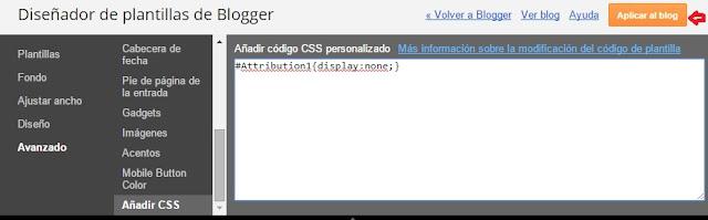añadir codigo css plantilla blogger