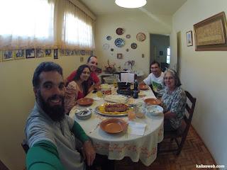 Almoço com a tia e primos.