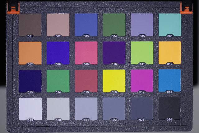 Karta kolorów oświetlona latarką Olight M1T Raider