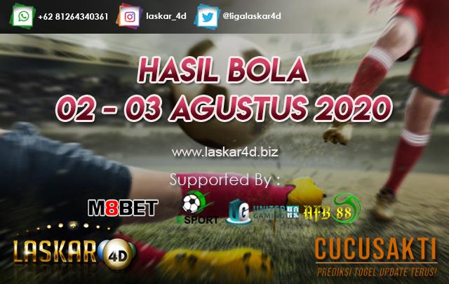 HASIL BOLA JITU TANGGAL 02 – 03 AGUSTUS 2020