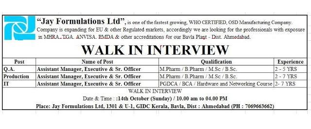 Jay Formulations Walk In Interview B.Sc, M.Sc, B.Pharm, M.Pharm at 14 October