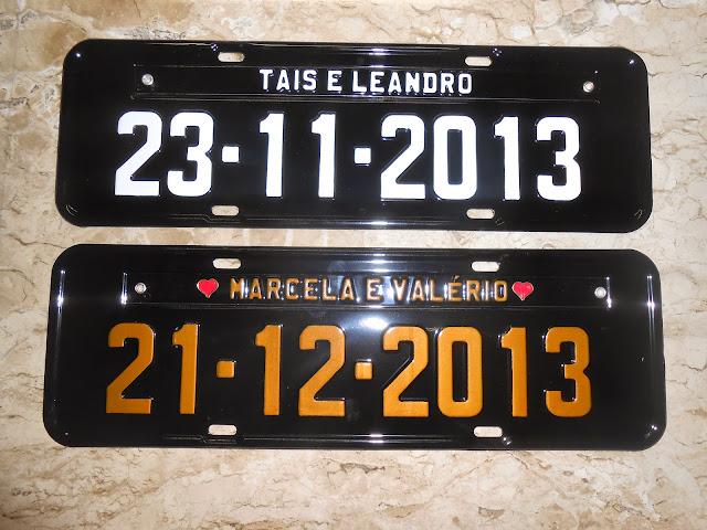 placas de carro casamento