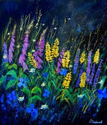 Flores no Jardim - Cores fortes e vibrantes nas pinturas de Pol Ledent