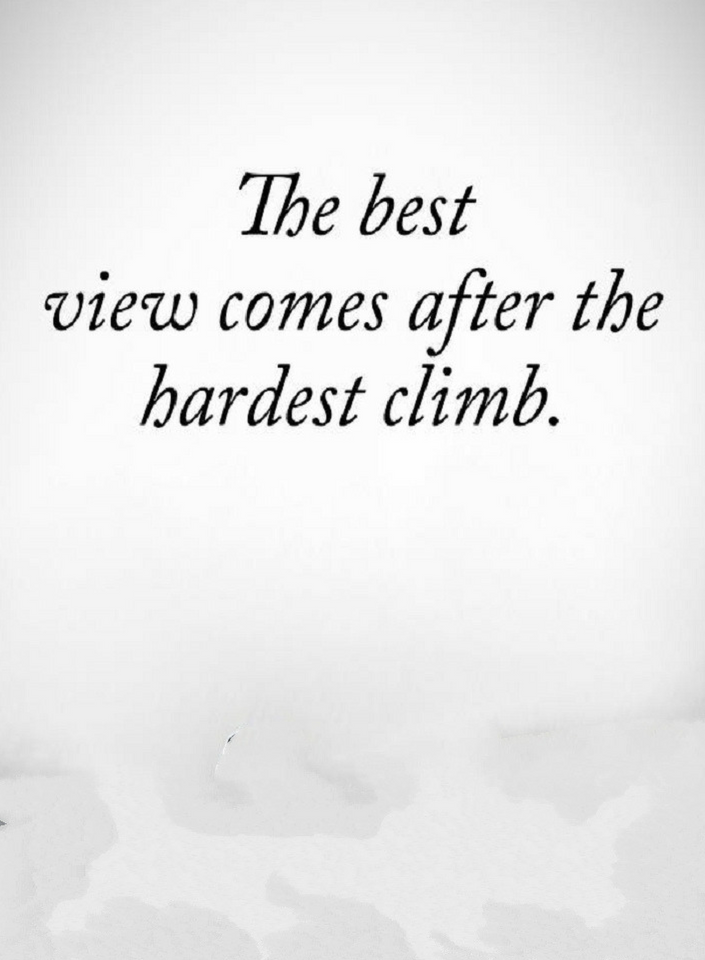 If You Are Working Hard Remember The Climb Maybe Hard But The View