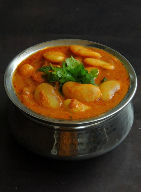 Butter beans Thakkali Kurma, Tomato Butterbeans Kurma