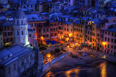 Cinque Terre village of Vernazza in early evening.