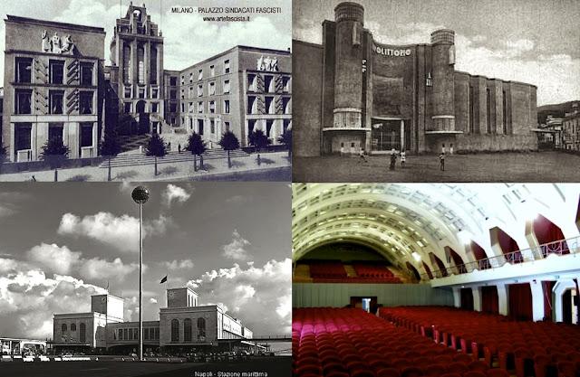In senso orario/Clockwise - Milano: Palazzo Sindacati Fascisti; Salerno:Stadio Littorio, Teatro Augusteo; Napoli: Stazione Marittima