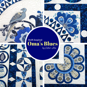'Oma's Blues' Wall Hanging / Bed Quilt