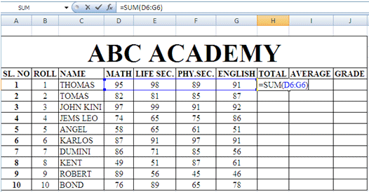 Total, Average and Grade in MS-Excel