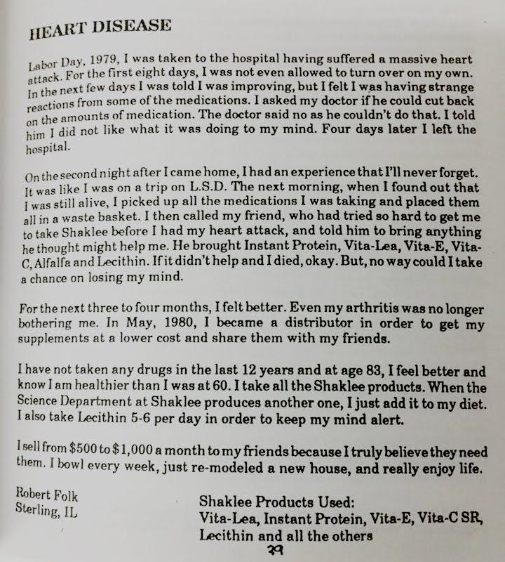 Shaklee Testimonial 1979 - Heart Disease