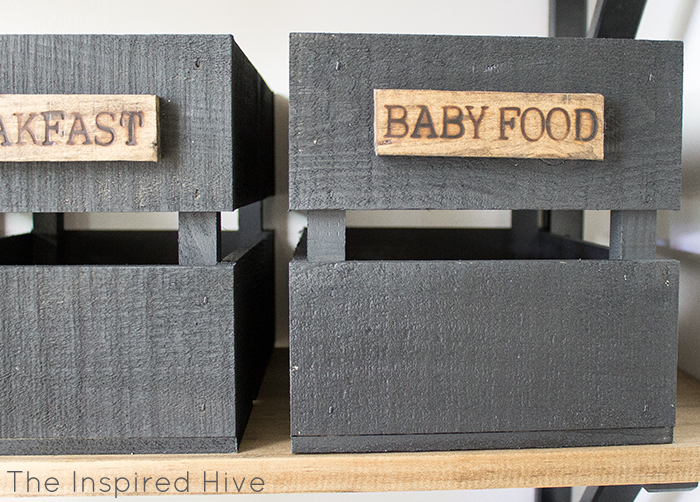 DIY rustic pantry storage using wooden crates