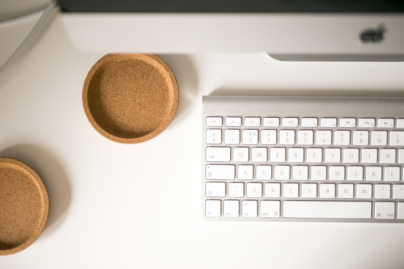 Desk, IKEA Coasters, IKEA Alex Desk, White Desk, Apple Keyboard, iMac, Katie Writes Blog, Katie Writes,