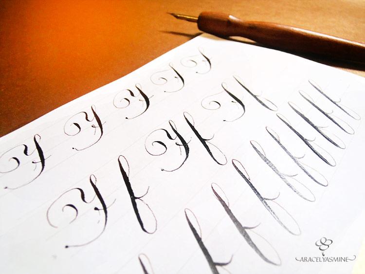 caligrafia copperplate inglesa como escribir la letra f alfabeto