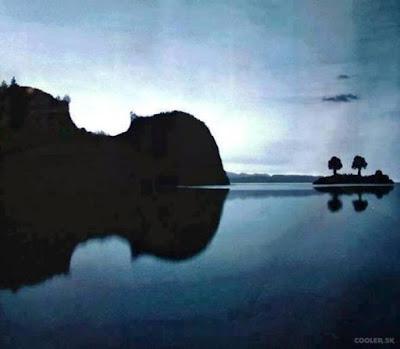 paisaje reflejado que parece un violin ilusión opticas