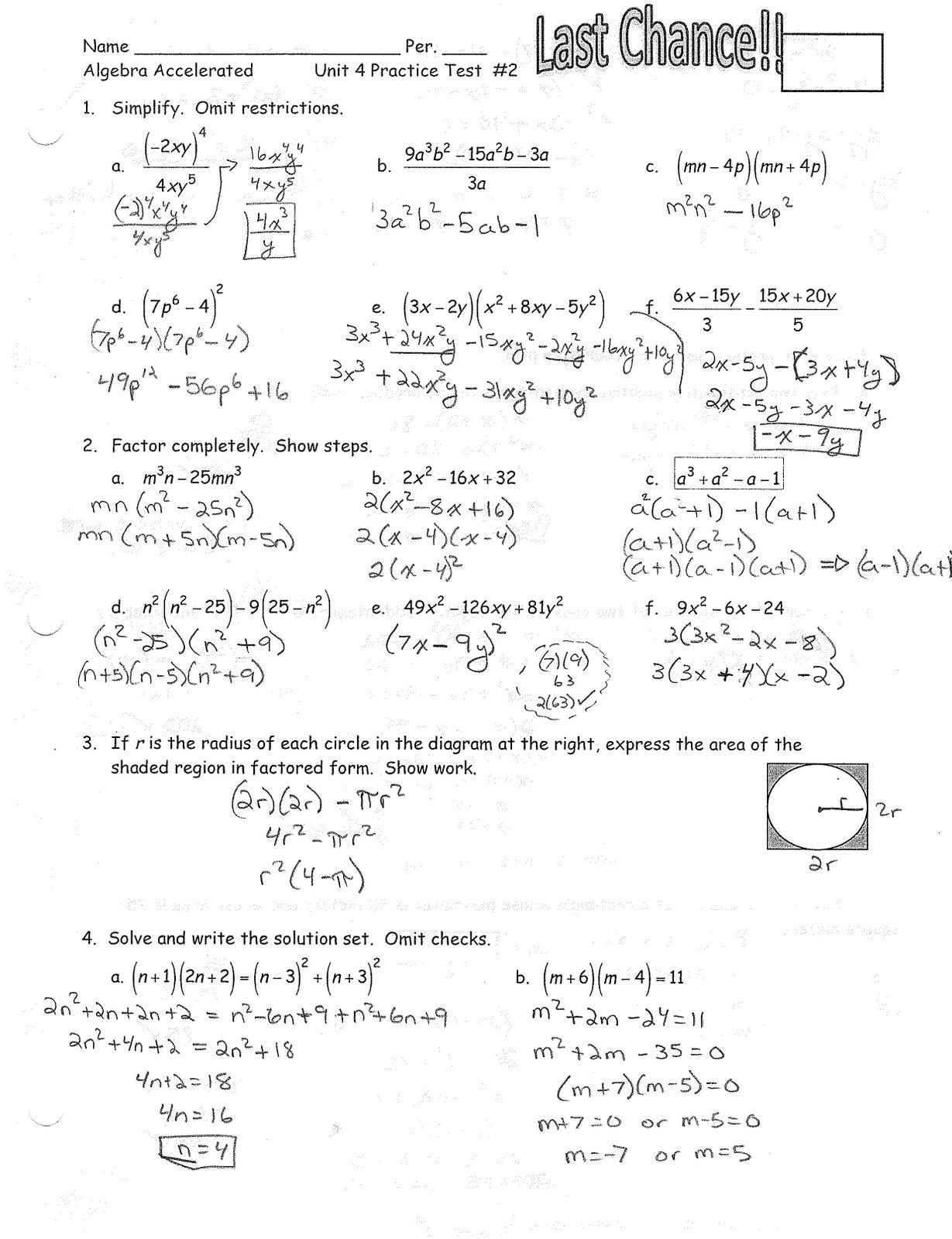 Iroquois Algebra Blog Unit 4 Practice Test 2 Answer Key