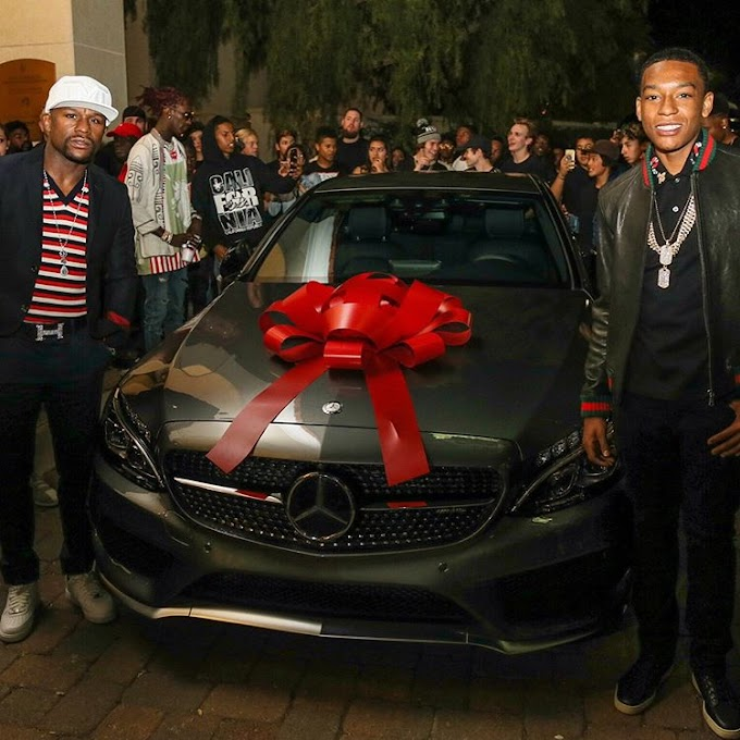 Floyd Mayweather Jr. buys his son a £31,000 Mercedes C-Class Coupe for his 16th Birthday