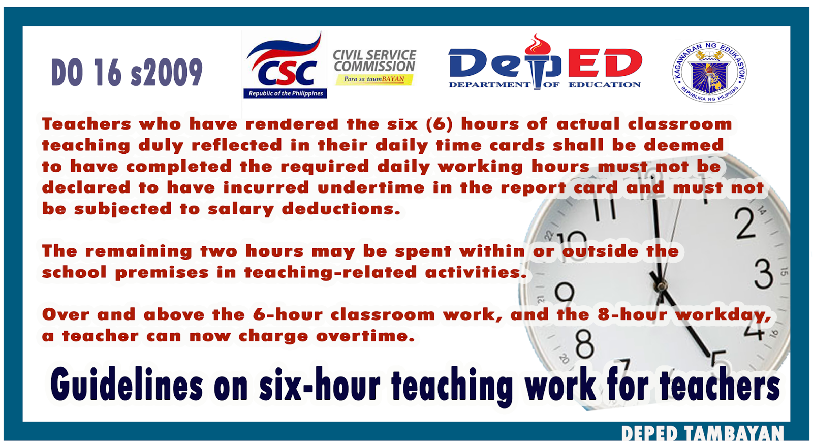 Teachers can now claim overtime pay | DEPED TAMBAYAN PH