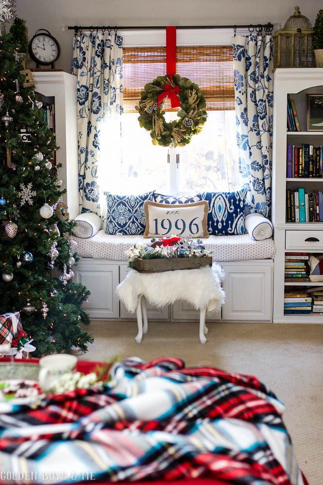 DIY master bedroom window seat made with upper kitchen cabinets with holiday decor