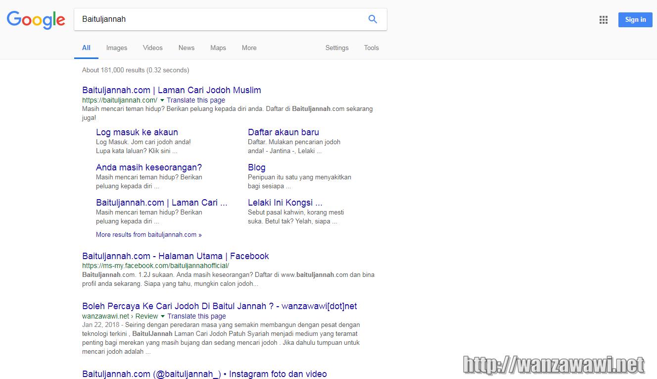 page pertama di google