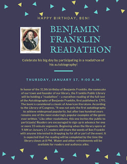 Franklin Library: Ben Franklin Readathon, Jan 17