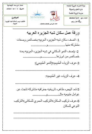 ورقة عمل سكان شبه الجزيرة العربية