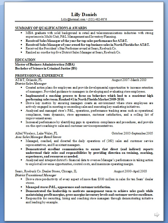 District Sales Manager Resume Format In Word Free Download