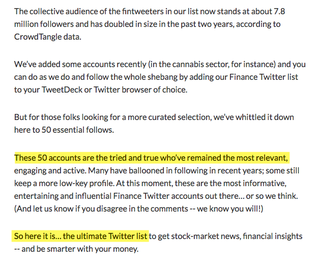 7bfee87ef3ad Many thanks to the people at MarketWatch for including us on their list of  the Top 50 Finance Twitter Accounts for Investors to Follow in 2019.