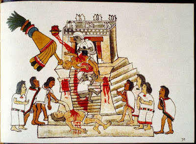 Aztec priest performing the sacrificial offering of a living human's heart to the war god Huitzilopochtli - Source: http://www.loc.gov/pictures/item/2002718926/