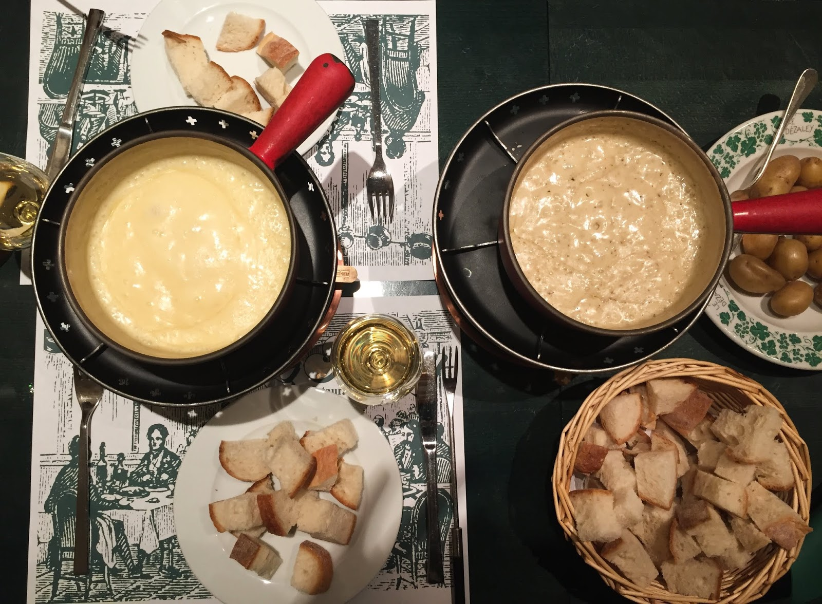 Le Dézaley swiss cheese fondue in switzerland