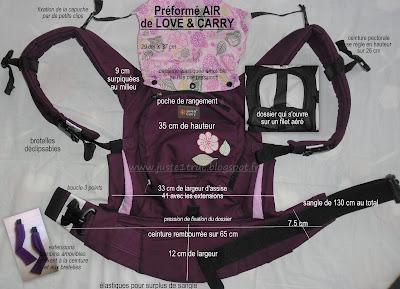 love & carry and portage babycarrier babywearing porte-bébé préformé pas cher ergobaby bambin bébé porter dimensions caractéristiques test avis review détails mesures