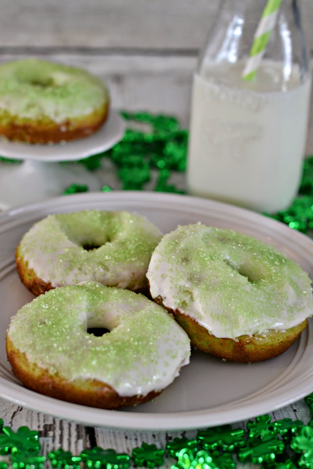 Shamrock Glazed Donuts #Recipe. Easy Donut Recipe.  St. Patrick's Day treats.  St. Patrick's Day desserts.  St. Patrick's Day donuts.  Shamrock Donut recipe.  St. Patrick's Day Recipes.