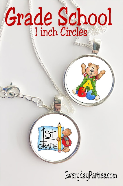 These one inch circles are perfect for all kinds of back to school crafts as well as teacher gifts and afternoon fun.  With grades Kindergarten through fifth grade and a little bit more, you'll have everything you need to go back to school in style.