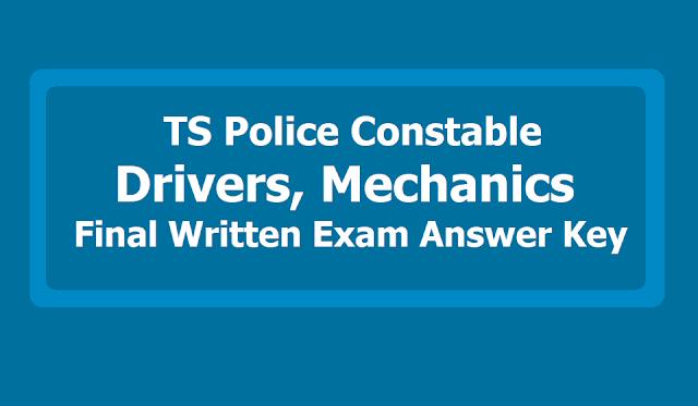 TS Police Constable Drivers, Mechanics Final Written Exam Answer key 2019