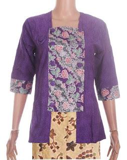 Model Kebaya Batik Kombinasi 2 Warna