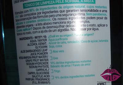 ingredientes tonico con savia de aloe garnier