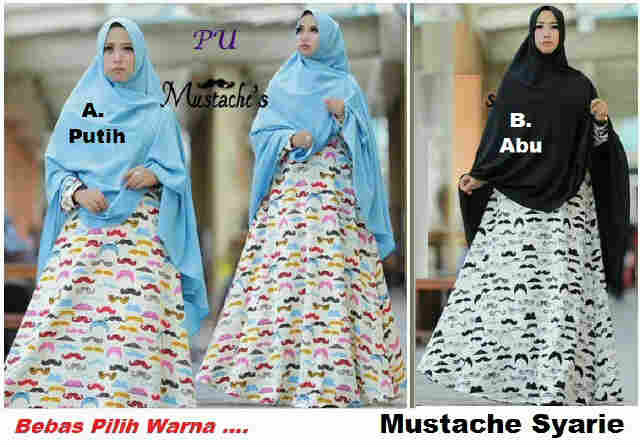 Pusat Grosir Baju Wanita Gamis Muslimah Mustache Syarie
