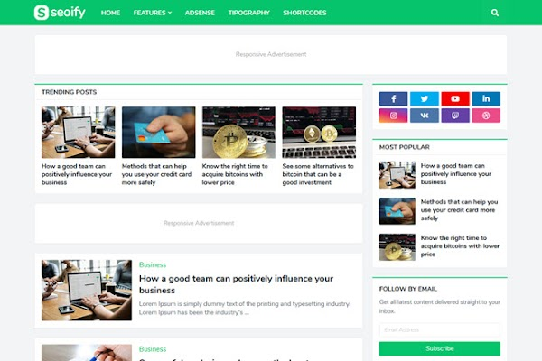 Seoify Responsive Blogger Template