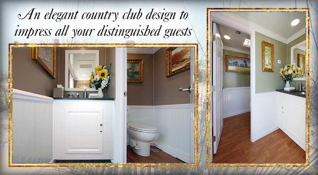 The Amagansett Luxury Restroom Trailer inside